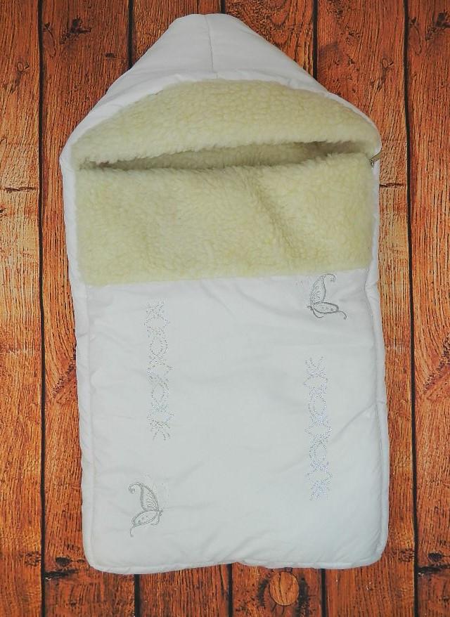 Зимний конверт для новорожденного на овчине Бабочки