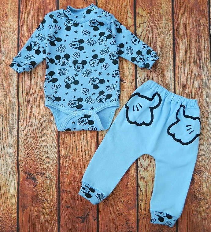 Комплект детский теплый Мышонок для мальчика, теплый костюмчик с бодиком и штанишками