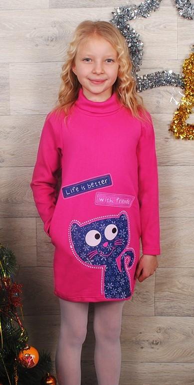 Теплое платье для девочки. Детское платье с длинным рукавом Кошечка