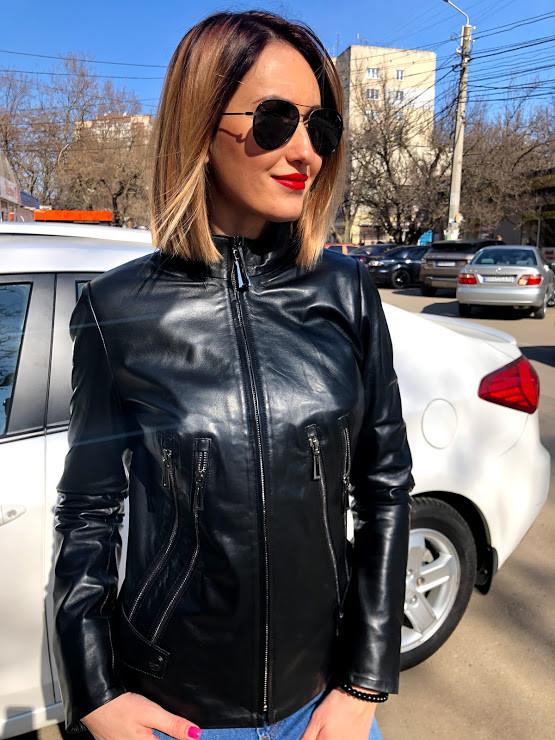 Куртка Кожаная Черная  Молния Стойка 070МК