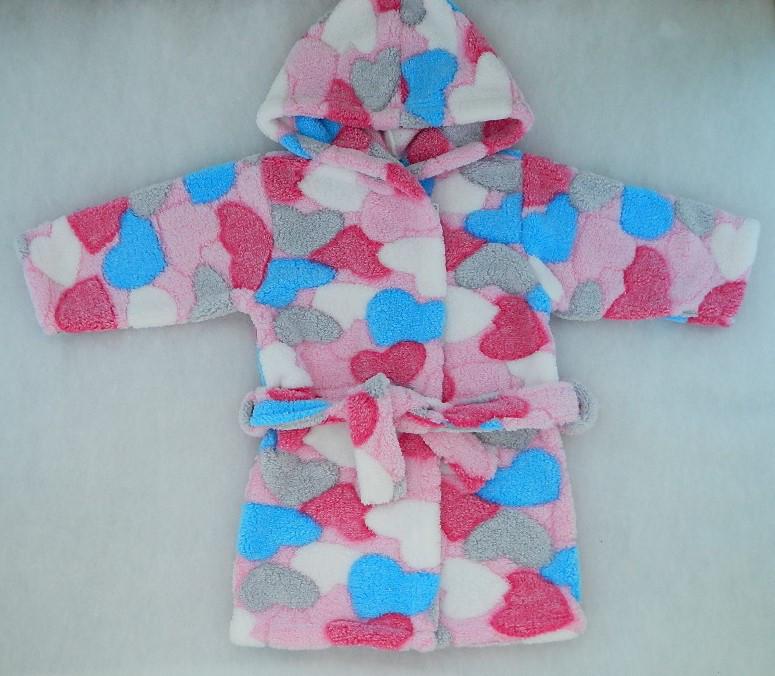 Махровый халат с капюшоном для девочки Сердечки
