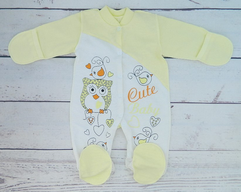 Детский комбинезон для новорожденного с начесом Совёнок