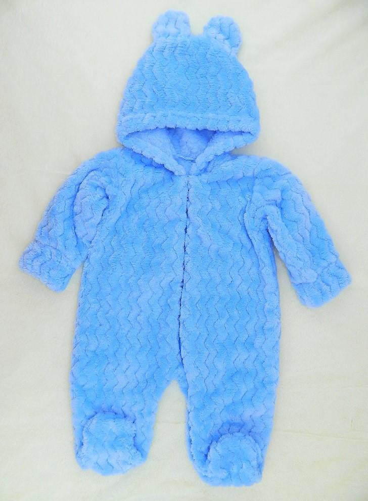 Махровый комбинезон (человечек) голубой Зефирчик