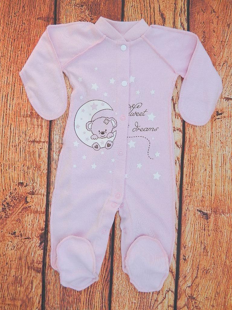 Детский человечек розовый, слип для новорожденной девочки Луна