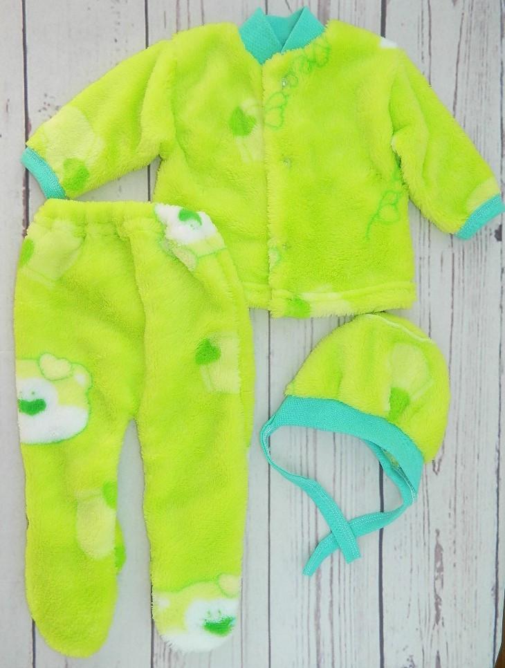 Махровый костюмчик для новорожденного Нежность в зеленом цвете