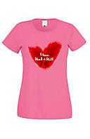 Футболка I LOVE ROCK & ROLL жіноча рожева
