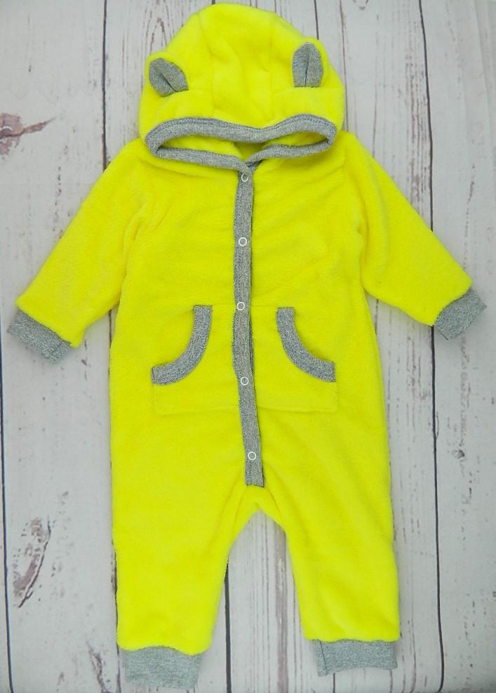 Махровый человечек желтый на рост 74, 80 см. с капюшоном и открытой ножкой - 0322
