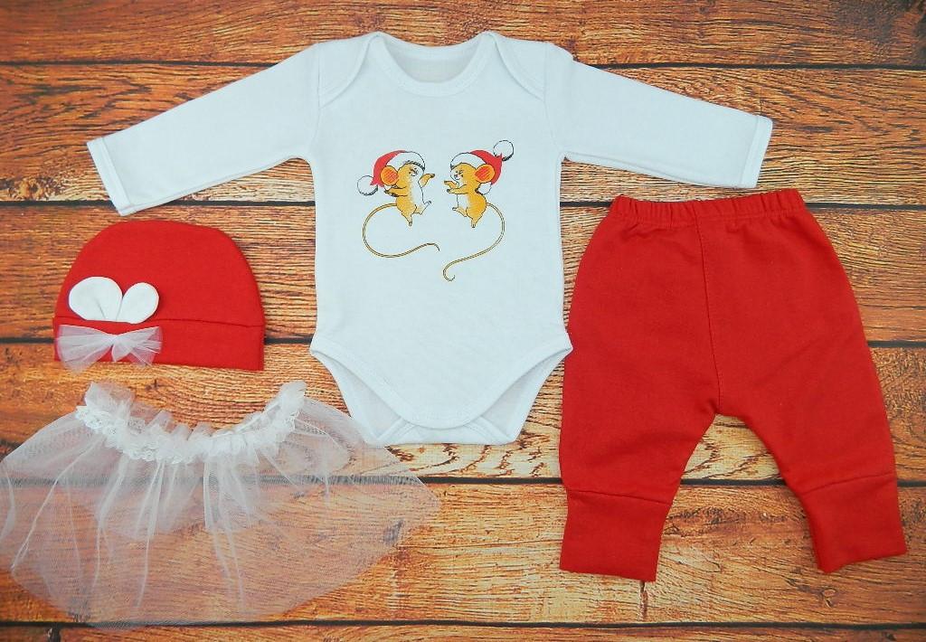 Новогодний костюм для новорожденной девочки на рост 62, 68, 74 см., Мышата