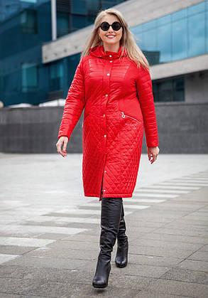 Длинное стеганное Пальто большого размера демисезонное женское 54 размер  коллекция 2017, фото 2