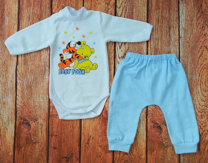 Детский костюмчик с начесом для мальчика: боди под горло и штанишки Динни