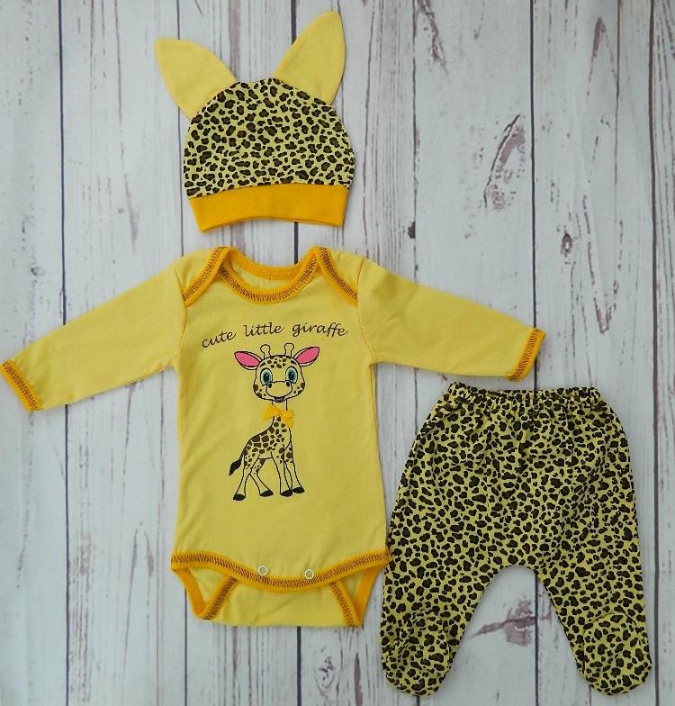 Детский костюмчик для новорожденных Жирафик, размеры от 2 до 9 мес