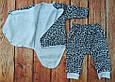 Детский костюмчик с начесом для новорожденных: боди на запах и штанишки Далматинец, фото 2