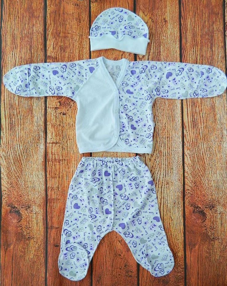 Комплект на выписку для новорожденной девочки Фиолетовые сердечки