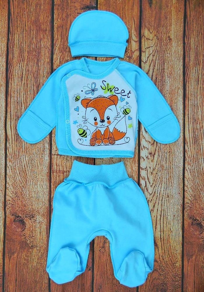 Комплект для новорожденного мальчика (интерлок) код 1195