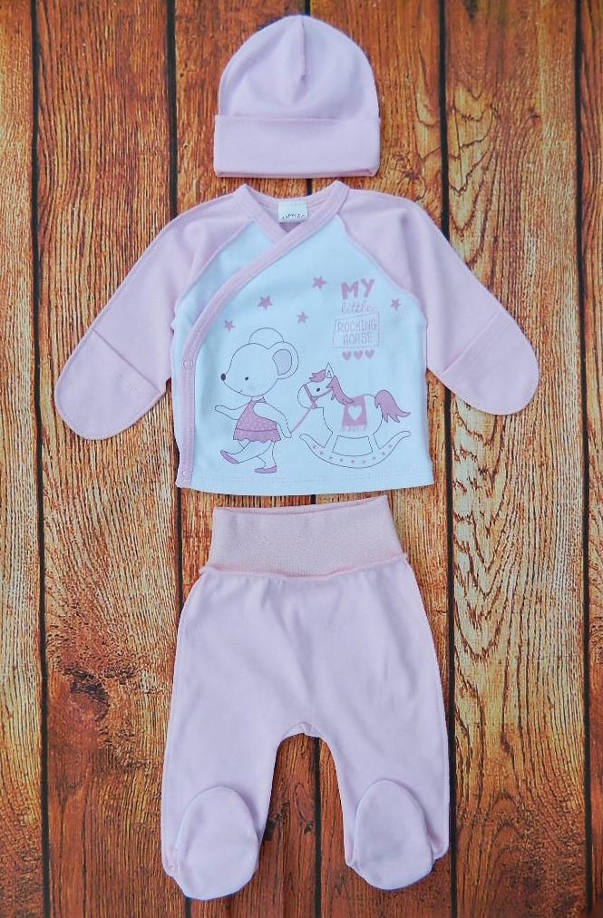 Комплект для новорожденной девочки 3 предмета (интерлок) арт 2522