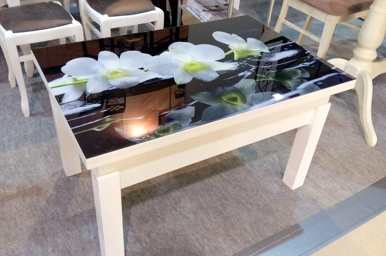 Кухонный стол трансформер Флай со стеклом Fn, белый