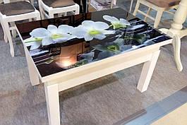 Кухонный стол трансформер Флай со стеклом  Fusion Furniture, цвет белый