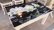 Кухонный стол трансформер Флай со стеклом Fn, белый, фото 3
