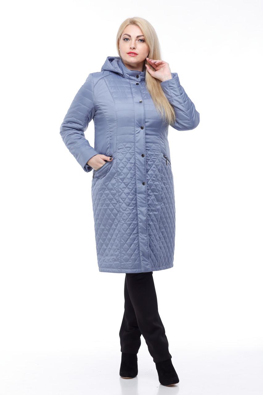 Длинное стеганное Пальто большого размера демисезонное женское 48-60 коллекция 2017