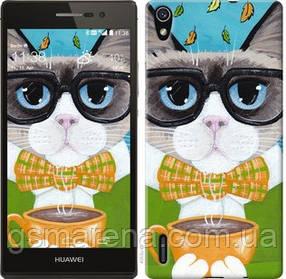 Чехол на Huawei Ascend P7 Cat&Coffee