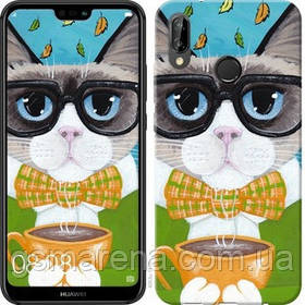 Чехол на Huawei P20 Lite Cat&Coffee