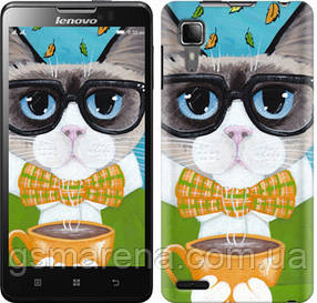Чехол на Lenovo P780 Cat&Coffee