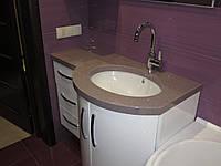 Столик в ванную из искусственного камня с нижней мойкой