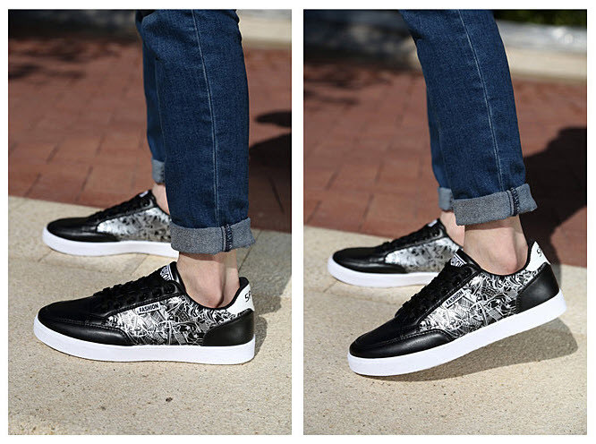 Стильные мужские кроссовки с рисунком   Эко-кожа