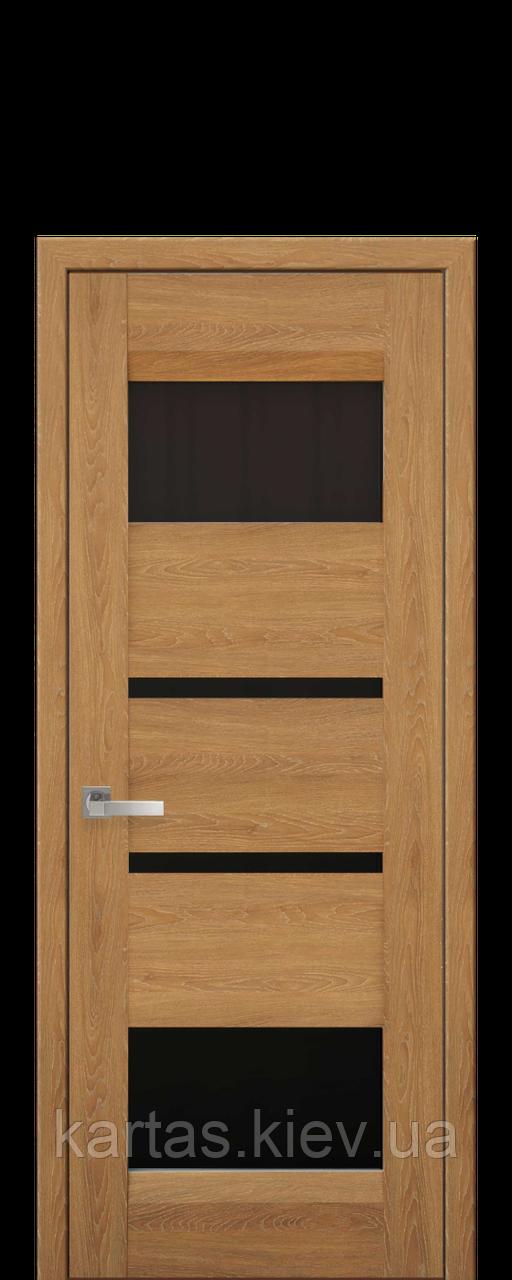 Дверное полотно Ибица Дуб янтарный с черным стеклом
