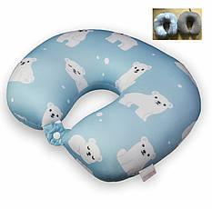 Дорожная подушка для шеи 30х30 Мишки велюр, фото 2