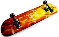 Скейт для трюков - скейтборд для начинающих SK8 - Огонь