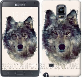 Чехол на Samsung Galaxy Note 4 N910H Волк-арт