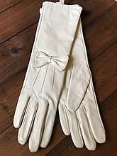 Женские перчатки длинные 340мм Средние Кожаные перчатки с небольшим дефектом