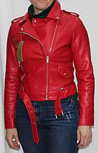 Куртка-косуха короткая женская, иск.кожа, красная, осень/весна