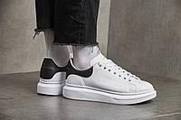 Мужские кроссовки Alexander McQueen Leather Show Sneakers White Black ( Реплика )