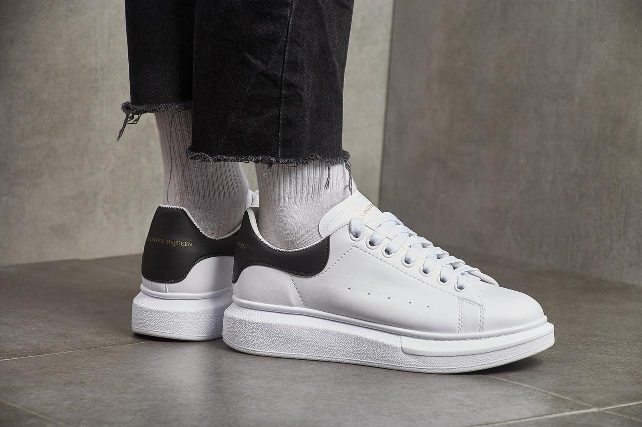 c7ac255b1 Мужские кроссовки Alexander McQueen Leather Show Sneakers White Black (  Реплика )