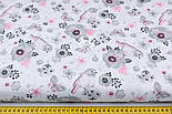 """Ткань хлопковая """"Воробьи и анемоны"""" серо-розовые на белом  № 1980а, фото 2"""