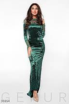 Вечернее платье длинное по фигуре бархатное к низу расклешенное длинный рукав зеленое, фото 2
