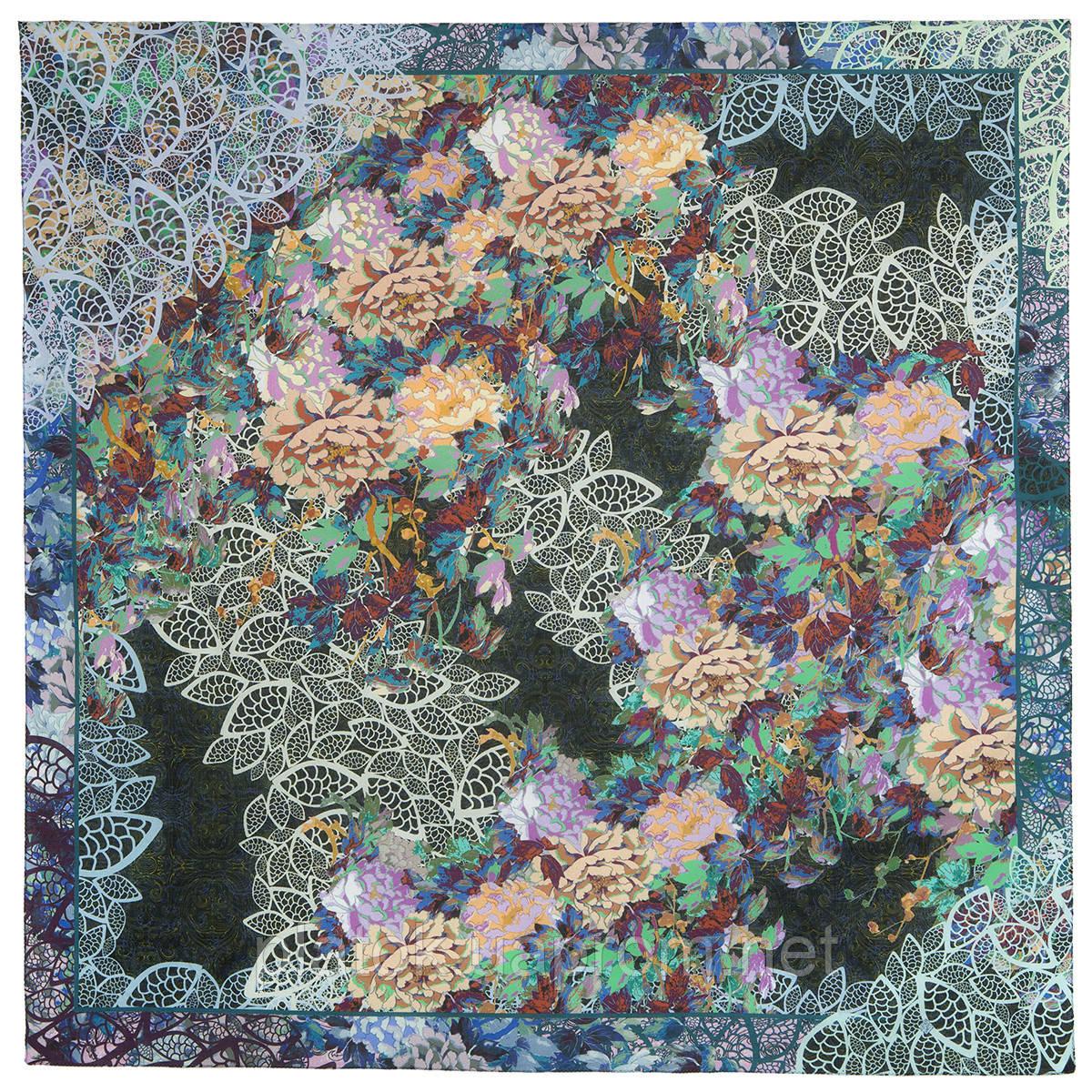 Платок хлопковый 10309-18, павлопосадский платок хлопковый (батистовый) с швом зиг-заг
