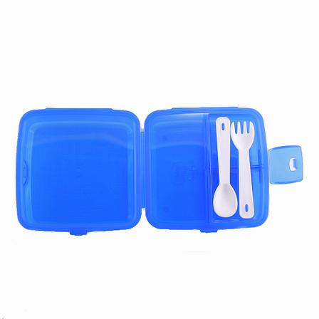 Ланч-бокс, контейнер з відділеннями, ложка і виделка, синій, фото 2