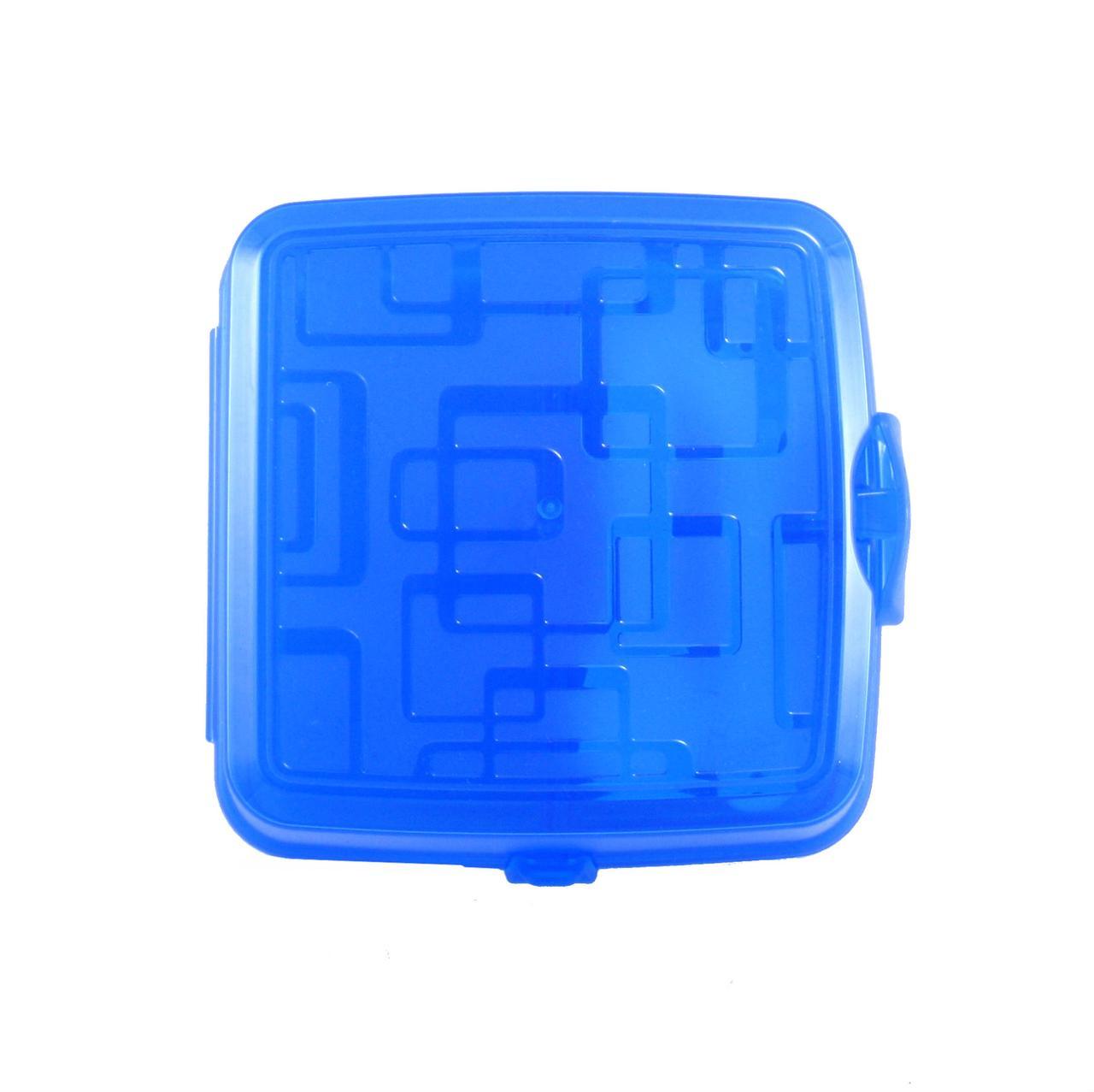 Ланч-бокс, контейнер з відділеннями, ложка і виделка, синій