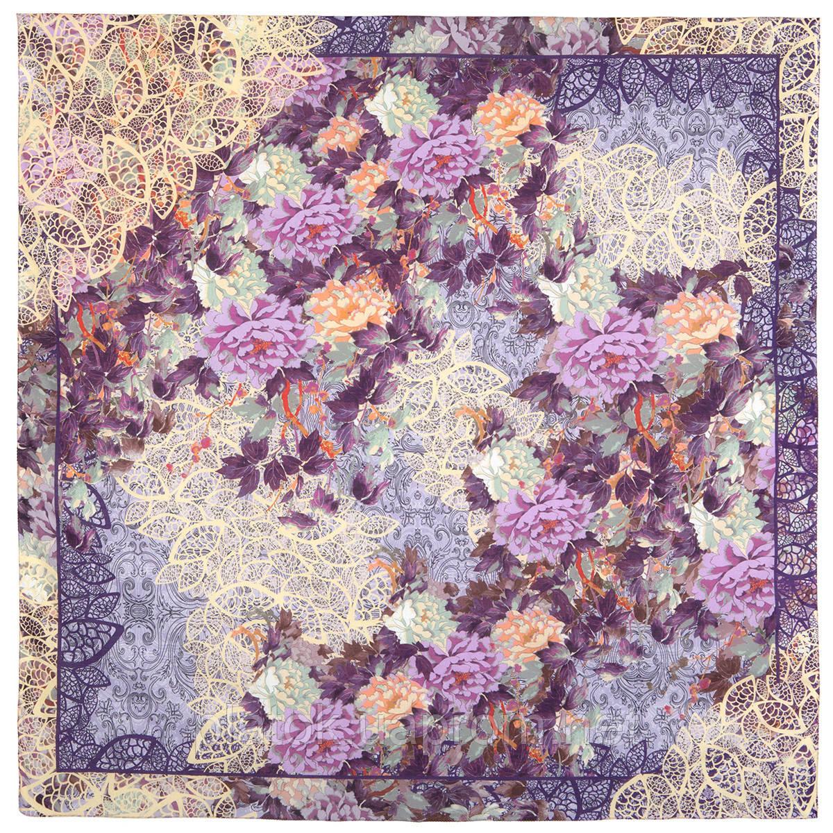 Платок хлопковый 10309-15, павлопосадский платок хлопковый (батистовый) с швом зиг-заг