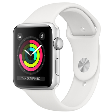 Apple Watch Series 3 GPS 38mm Silver Aluminium Case with White Sport Band (MTEY2)