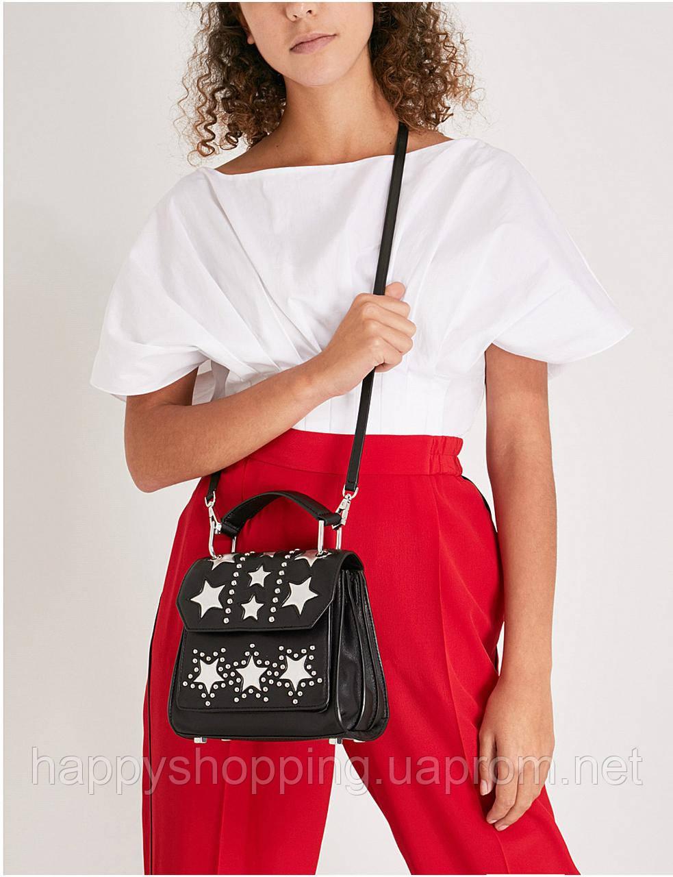 Женская стильная черная кожаная сумочка через плечо Rebecca Minkoff