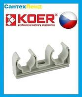 Крепежная клипса двойная для полипропиленовой трубы Koer 25