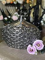 Ваза для декора настольная Сеточка серебро