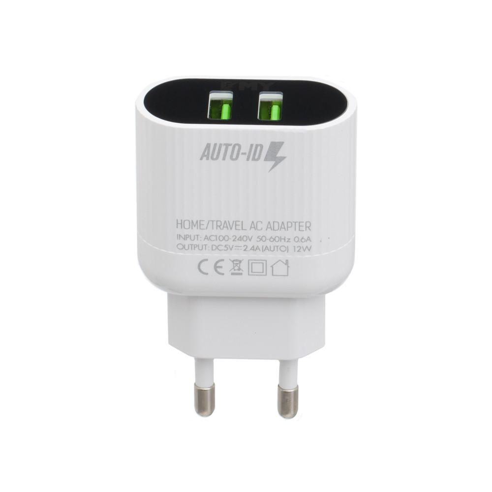 Сетевое зарядное устройство Emy MY-A202 microUSB 2USB White (MY-A202)