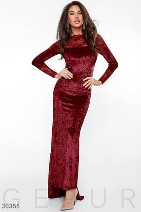 Модное платье в пол по фигуре бархатное к низу расклешенное с кружевными вставками длинный рукав темно красное, фото 2