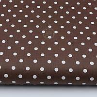 Ткань хлопковая с горошком 8 мм на тёмно-коричневом фоне (№1982а)