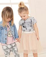 Детский комплект футболка и юбка для девочки 2Т, 3Т, 5Т, 6Т, 7Т